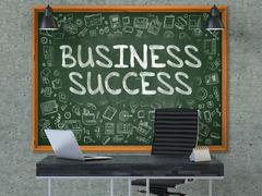 Business Success Concept. Doodle Icons on Chalkboard Stock Illustration