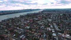 Cliffside Park NJ Flyover Buildings Towards Hudson River Stock Footage