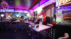 Empty hall in Beverly Hills Diner - network of restaurants Stock Footage