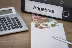 Angebote written on a binder Stock Photos