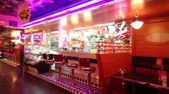 Cozy interior of empty Beverly Hills Diner - network of restaurants - stock footage