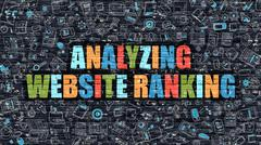 Analyzing Website Ranking Concept. Multicolor on Dark Brickwall Stock Illustration