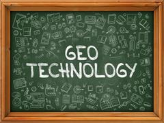 Geo Technology Concept. Doodle Icons on Chalkboard - stock illustration