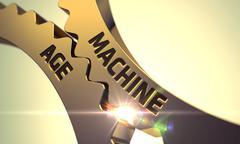 Machine Age on Golden Metallic Cogwheels - stock illustration