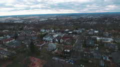 Cliffside Park NJ Flying Over Homes & Traffic While Cloudy Stock Footage