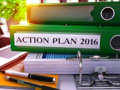 Green Ring Binder with Inscription Action Plan 2016 Piirros