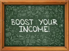 Green Chalkboard with Hand Drawn Boost Your Income - stock illustration