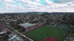 Cliffside Park NJ Flyover School Football Field Stock Footage