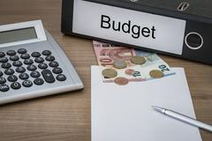 Budget written on a binder - stock photo