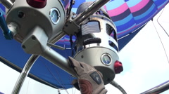 Activating the propane burner, Interior of a hot air balloon Stock Footage