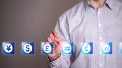 Businessman touch Pound Sterling icons Stock Footage