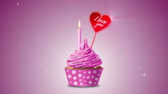 Cupcake with hearts and the words - I love you. 4K  motion. Stock Footage