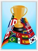 Trophy on world flags panel - stock illustration
