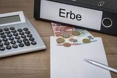 Erbe written on a binder Stock Photos