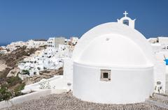 Santorini Oia White Church Stock Photos