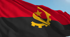 Beautiful looping flag blowing in wind: Angola - stock footage