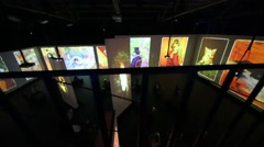 Bright pictures at Multimedia exhibition Great modernists Stock Footage