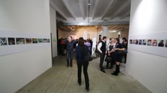 People in hall after Multimedia exhibition Great modernists Stock Footage