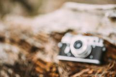 Abstract Blurred Background Of Old Vintage Rangefinder Camera - stock photo