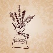 Lavender sachet sketch bouquet - stock illustration