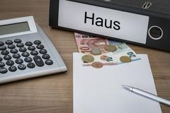 Haus written on a binder Stock Photos