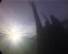 Ocean scenery on derelict pylons, UP11884 Stock Footage