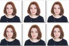 Stock Photo of Identification photo of a young girl ( Collage of 6 pictures)