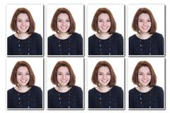 Identification photo of a girl for passport, collage of 8 photos - stock photo