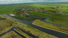 Netherlands Windmill Village, Flyover Marsh Land Stock Footage