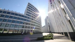 Sun and modern Business Center Aquamarine In Moscow, Russia - stock footage