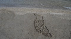 The mermaid's drawing on the beach. Stock Footage