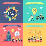 Generation of Ideas Banners Set - stock illustration