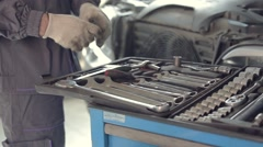 Motor Mechanic Taking Instruments Stock Footage