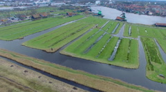 Netherlands Windmill Village, Aerial Shot Of Windmills and Fields Stock Footage