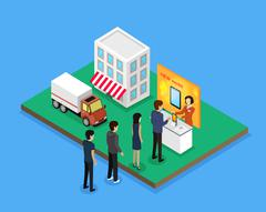 Sale and Delivery New Model Device Isometric Style Stock Illustration