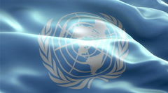 United Nations Flag loop Seamless realistic Stock Footage
