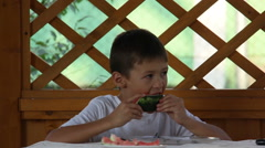 Boy eating watermelon rind Arkistovideo