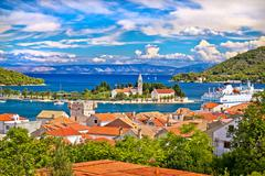 Scenic island of Vis waterfront Stock Photos