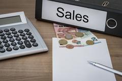 Sales written on a binder - stock photo