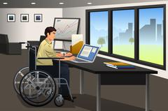 Handicapped Businessman Working in Office - stock illustration