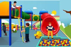 Kids Playing in the Playground Stock Illustration