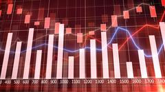Stock Market Graph and Bar Chart with red background - stock illustration