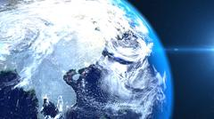 A part of Earth is emitting a beautifull light. A view from space. Piirros