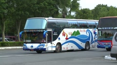 Bus with tourists arriving at the entrance Stock Footage