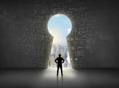 Business man looking at keyhole with bright cityscape concept Stock Photos