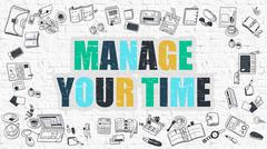 Stock Illustration of Manage Your Time Concept. Multicolor on White Brickwall