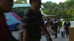 Children getting off buses, tourists Stock Footage