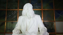 Sculpture of russian chemist Mendeleev at night with illumination Stock Footage