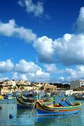 Marsaxlokk, Malta, fishing village on a sunny day - stock photo