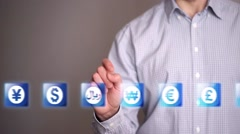 Businessman touch Riyal icons Stock Footage